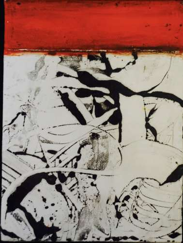 graphite monotype 1, encaustic, graphite, pigment stick, 6x8, $$0.0000