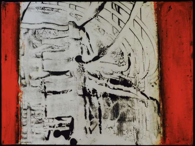 graphite monotype 4, encaustic, graphite, pigment stick, 8x6, $$0.0000